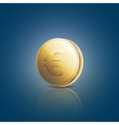 Gold coin with euro sign on blue background vector image