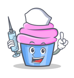 nurse cupcake character cartoon style vector image