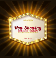 theater sign or cinema sign on curtain vector image vector image