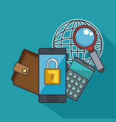 Blockchain business set icons vector