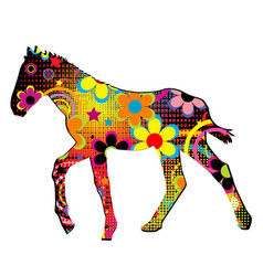 foal silhouette with flowers and dots pattern vector image