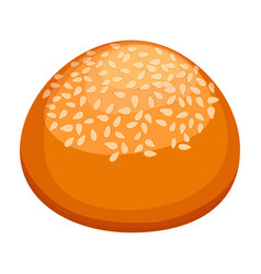 round bun covered in sesame realistic style vector image vector image