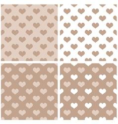 Seamless pastel hearts wallpaper background set vector image vector image