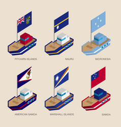 set of isometric ships with flags of oceania vector image