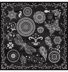 Vintage floral chalk drawn design elements vector