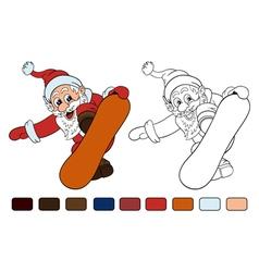 Cartoon Santa Claus makes jump on snowboard vector image vector image