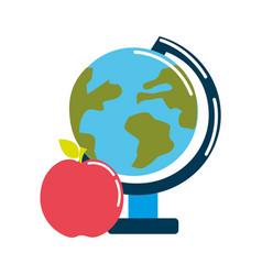 Earth plenet desk with apple fruit vector