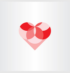 heart geometric circles element design vector image