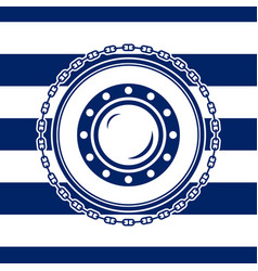 marine emblem with a porthole vector image vector image