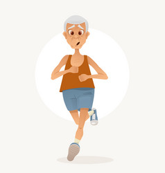 old sporty happy grandpa character run vector image vector image