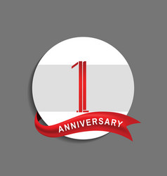 1 anniversary with white circle and red ribbon vector