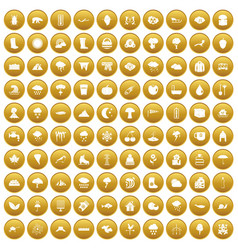 100 clouds icons set gold vector