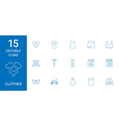 15 clothes icons vector