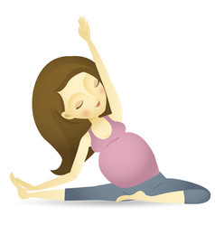 A pregnant woman sitting doing yoga vector