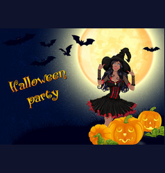 african witch and pumpkins on full moon background vector image