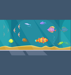 aquarium banner horizontal man cartoon style vector image