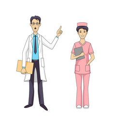 Asian doctor talking and female nurse isolated vector