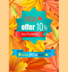 Autumn special offer 10 discount on polygon label vector