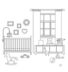 Baby room line interior vector