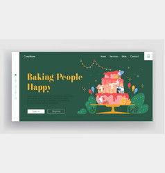 bakery website landing page chef characters vector image