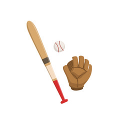 baseball bat glove and ball american football vector image
