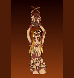 Burning a woman at the stake on charges vector