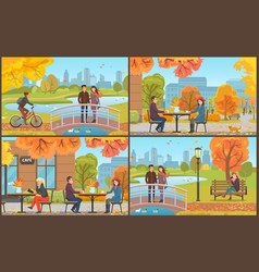 Cafe table and coffee cups autumn park vector