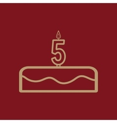 Cake with candles in the form of number 5 icon vector image