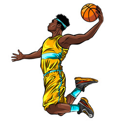 cartoon basketball player is moving dribble with a vector image