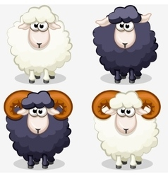cartoon black and white sheep vector image
