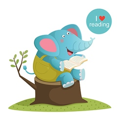 Cartoon elephant reading a book vector image