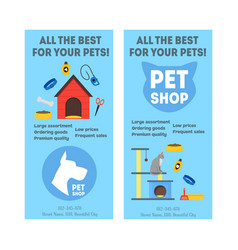 Cartoon pet shop banner or flyer service vertical vector
