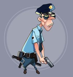 cartoon serious man in police uniform vector image
