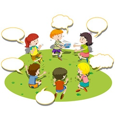 Children sit in circle and play game vector