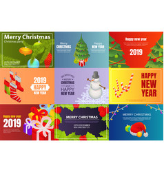 christmas party banner set isometric style vector image