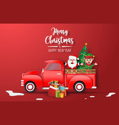 christmas red truck with santa claus and elf vector image