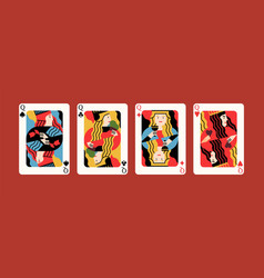 Collection cartoon different suits playing card vector