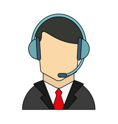 Color graphic guy customer service icon vector