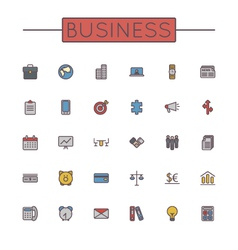Colored Business Line Icons vector