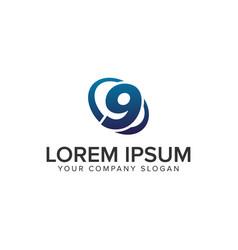 creative modern number 9 logo design concept vector image
