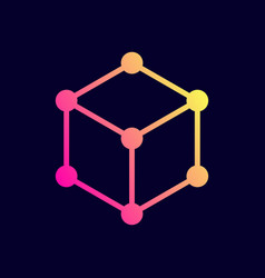 cube icon network connections vector image