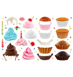 Cupcakes maker creation set of design elements 3d vector