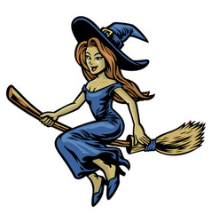 Cute beautiful witch riding her flying broom vector