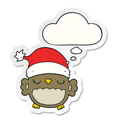 Cute christmas owl and thought bubble as a vector