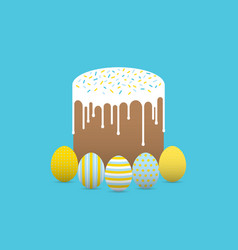 Decorated eggs with easter cake vector
