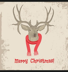 Deer vintage Christmas card animal vector