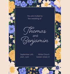 design wedding invitation with gorgeous flowers vector image