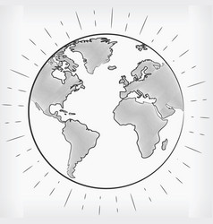 doodle earth world hand drawn sketch drawing vector image