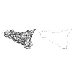 Dotted contour map of sicilia island vector