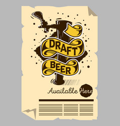 Draft beer tap machine poster flyer vector